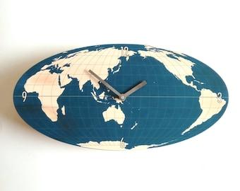 Objectify Oval World Clock - Navy