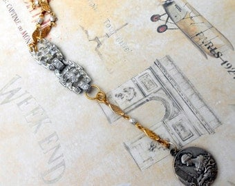 French Music Necklace, Assemblage Jewelry, Rhinestone Paste, Gold Filled Chain, Sterling Silver, Vintage Repurposed, Upcycled, Recycled