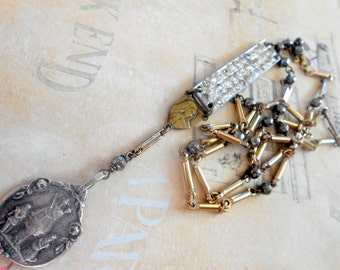 Long Religious Necklace, Assemblage, Rhinestone Paste, Silver Gold, Long, Rosary, Our Lady Medal, Pyrite, Repurposed, Upcycled, Recycled