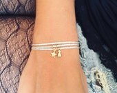 SIENNA - Personalized Wrap bracelet Pineapple and tiny engraved charms - Sterling silver or Gold Filled charm and glitter cord