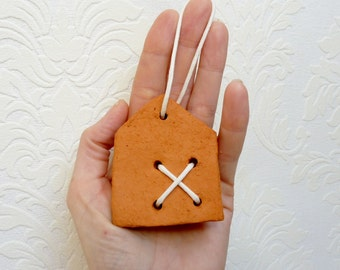 Little clay house ceramic house ornament housewarming gift