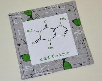 Caffeine Molecule Mug Rug - Nerdy Chemistry coaster - Coffee Lover Gift - Teacher Gift - Grey Green Hand Embroidery - Computer Geek Gift