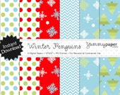 Winter Penguins Papers - Winter Holiday Themed Digital Papers - Personal and Commercial Use wp02