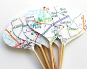 12 Map Cupcake Toppers, Road Map, Road Trip, Birthday Party, Travel Party, Double Sided