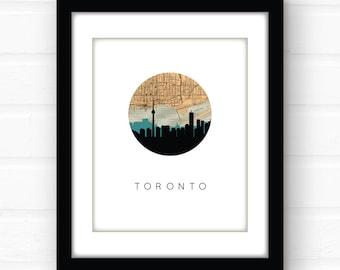 Toronto skyline | Toronto map | Toronto art | Toronto, Ontario, Canada art | city skyline print | vintage map decor | Canada map print