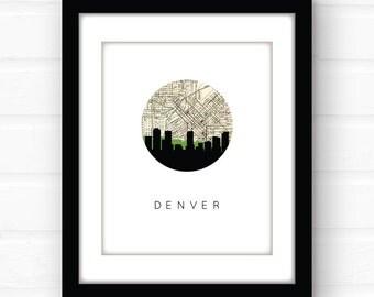 Denver skyline print | Denver map art | Denver art | Denver Colorado art | Denver Colorado map | city skyline print | skyline art | map art