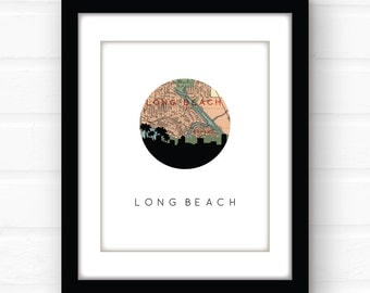Long Beach map art   Long Beach, California wall art   Long Beach, CA art print   California map art   California print   California home