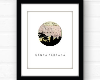 Santa Barbara art print | Santa Barbara poster | Santa Barbara map print | California wall art | California home decor | Southern California
