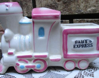 Vintage Baby train planter storage ceramic Nursery Baby Express by Napco Japan pink white blue pastel glazed container infant decor gift