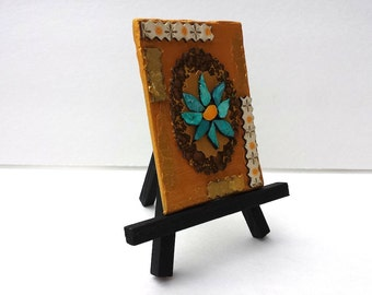 Miniature Abstract Flower Painting on Tiny Canvas Reversible Painting Reversible Art ACEO Art Metallic Gold Painting // Patina Petals