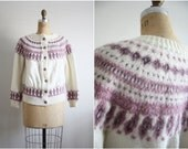 Fairisle Sweater / Vintage Nordic Cardigan / Norwegian Knit / Wool Knit Cardigan Sweater/ Unisex / Size S/M