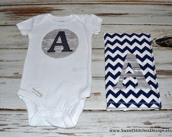 Baby Boy Initial Onesie & Burp Cloth Gift Set Baby Personalized Outfit Initial Shirt Navy and Gray Chevron Baby Boy Burp Cloth