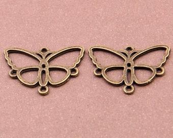 6pcs, 3 pairs- 4 loop brass butterfly earring connector, antique brass earring connector-ALK 3594