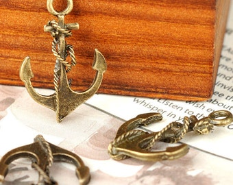 """6pcs-1"""" Bronze Anchor charms-Antique brass metal Charm pendant-ALZ 0083"""