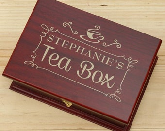 Engraved Rosewood Tea Box, personalized, engraved, tea bag, container, wood, wooden box, gift, custom gift, indoor decor  -gfyL10160123