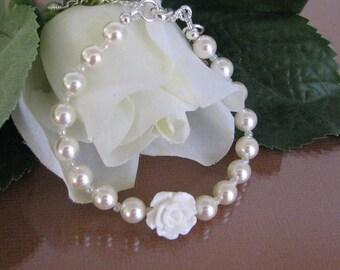 Flower Girl Bracelet-White Flower Girl Bracelet-White Pearl Flower Girl Bracelet-Flower Girl Jewelry-Flower Girl Gift-Swarovski Pearl Gift