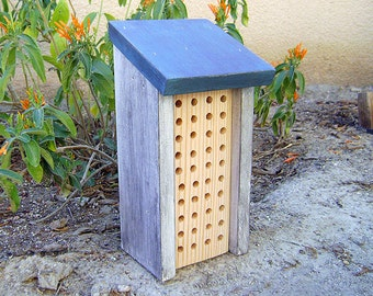 Painted BEE HOUSE, Rustic Blue and White, Hand Made, Hand Painted. For Solitary Bees. Ready to Ship