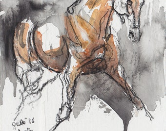 Small Painting, Contemporary Horse Art, Original Art, Black chalk and watercolor Horse Painting