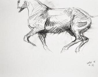 Original Sketch of a galoping horse, Animal Art, Contemporary Original Study