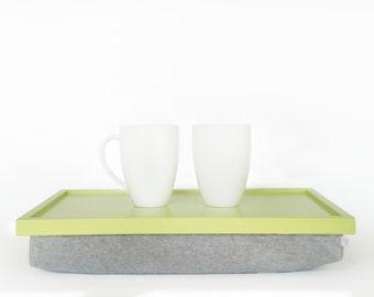 Soft jersey pillow Breakfast serving tray, laptop stand, riser - light green with grey melange soft Pillow