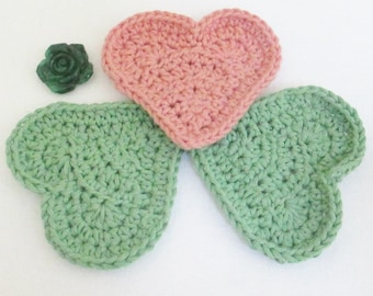 Crochet Heart Exfoliating Cloths, Spa Cloths, Heart Cloths, Heart Baby Washcloths, Exfoliating Cloths, Gift for her, Handmade Bath, 99502