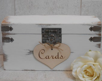 Wedding Card Box / Card Box With Slot / Card Trunk / Wedding Card Holder / Rustic Card Box / Wedding Decorations / White Wedding Box
