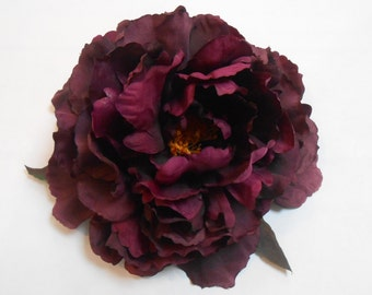 Purple Silk Peony / Dark Plum Purple Crafting Flowers / Artificial Flowers / Purple Flowers / Peony / Eggplant Purple Peony / Silk Florals