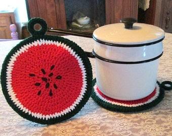 Lg Crochet Watermelon Slice Potholder/Hotpad