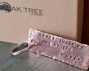 Custom Copper Keychain, Personalized, Handstamped, Message, Name, Date, Initials