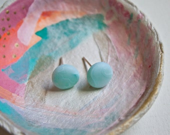 Turquoise Marble Look Stud/Post Earrings Made from Polymer and Sterling Silver Ear Posts