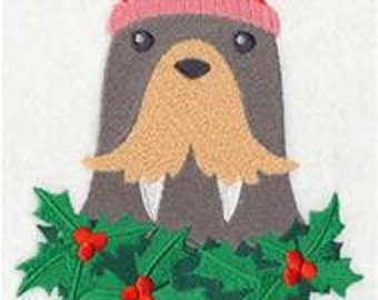 Merry Christmas Walrus Embroidered Flour Sack Hand/Dish Towel
