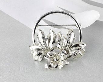 Sterling silver Flower Brooch, Floral Wreath signed Forstner, Round vintage 1950s jewelry