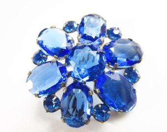 Vintage Blue Rhinestone Flower Brooch 1920s c clasp