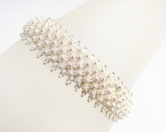 Vintage Silver Bead Flowers Chain Bracelet