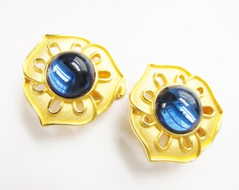 Vintage Blue Glass Cabochon Earrings Alfred Sung Brushed Gold Tone Clip on