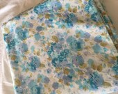 Vintage King Flat Bedsheet-Blue and Purple Floral