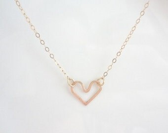 Heart Necklace, Gold Filled, Sterling Silver, Dainty, Weddings, Gift, Bridesmaids,Freindship, Handmade Jewelry, Jewellery