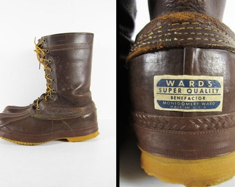 Vintage 50s Wards Duck Boots Brown Leather Hunting Shoe Waterproof Made in USA - Sz 12