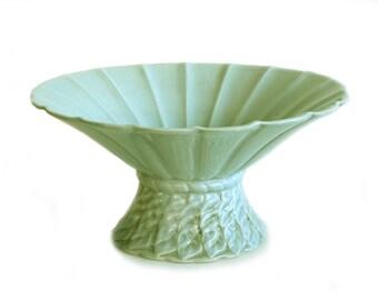 Haeger Pottery Large Flared Pedestal Vase Footed Pastel Green Cottage