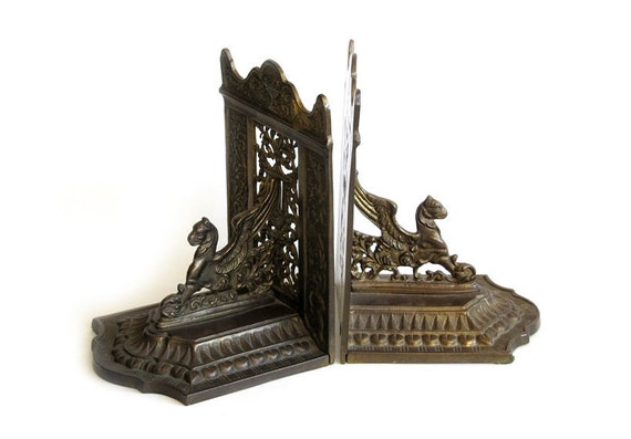 Vintage Brass Heraldic Griffin Lion Bookends Made In Italy