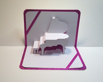 GRAND PIANO 3D Pop Up Card Origamic Architecture Home Decoration,  Handmade, Handcut, , in White and Bright Shimmery Pink. OoAK.
