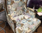 Pair of chintz floral chairs. Interior design