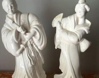 Blanc de Chin ceramic figurines. Chinese. Asian. Chinoiserie
