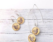 Clearance Sale Silver SQUIRREL EARRINGS - Animal Gift Woodland Style Mustard Goldenrod Yellow Spring Jewelry Squirrel Jewelry