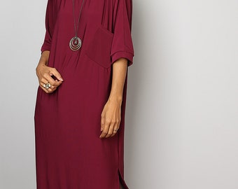Burgundy Dress - Burgundy Mid Length Dress : Street Soul Collection No.1