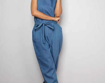 Denim Jumpsuit / Light Jeans Coloured Jumper / Jumpsuit- Long Pants : The Denim Collection No.1