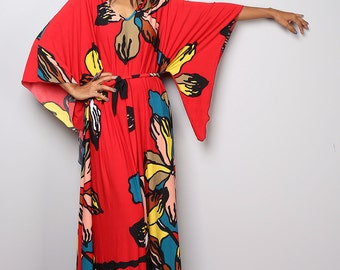 Red Dress - Kaftan Kimono Dress with big floral print : Funky Elegant Collection No.4