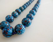 Millefiori Chunky Beaded Necklace 20mm Round Gum ball size 38 Blue Floral Glass Beads from The Back Part of the Basement FREE US Shipping
