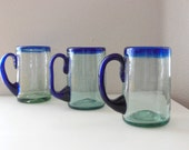 3 Blue Rim Glass Mugs Cobalt Blue Glass LARGE 13 Ounce SEt of Beer Mugs Stein Handcrafted Drinkware  from The Back Part of the Basement