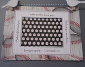 Ultrasound Frame or Mat with Bible Verse -Red White and Black - Baseball - Baby Boy 5x7